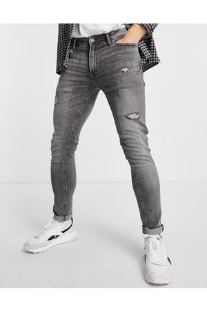 jack & jones Intelligence Liam skinny jeans with abrasions in