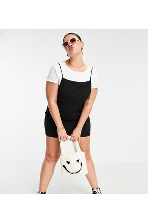 Collusion Women Casual Dresses - Plus backless pinafore mini dress in