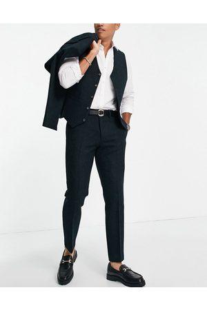 ASOS Men Formal Pants - Slim suit trousers in 100% wool Harris tweed in forest