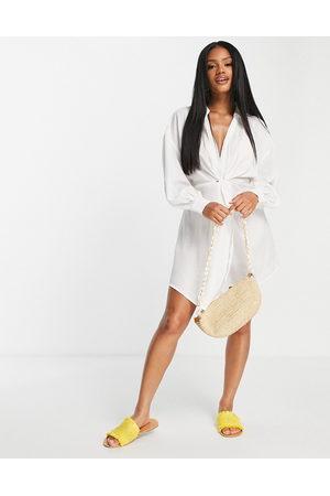 ASOS DESIGN Women Beach Dresses - Jacquard twist beach mini dress in