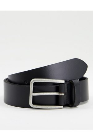 ASOS DESIGN Leather slim belt in with square silver buckle