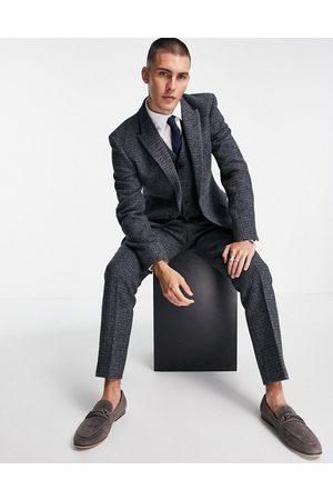 ASOS DESIGN Slim suit jacket in 100% wool Harris Tweed with micro check