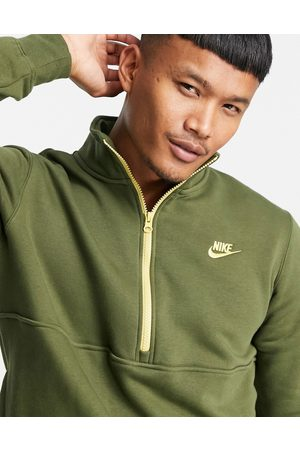 Nike Men Sweatshirts - Club fleece half zip sweat in khaki