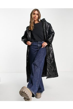 ASOS DESIGN Women Leather Jackets - Faux leather quilted hooded puffer coat in