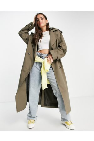 ASOS Trench coat with hood in stone-Neutral