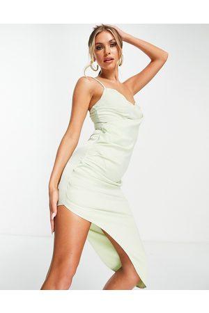 Missguided Satin drape midi dress in sage