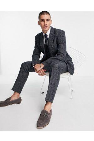 ASOS DESIGN Slim suit trousers in 100% wool Harris Tweed with micro check