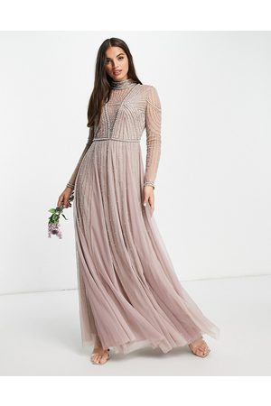 ASOS DESIGN Bridesmaid pearl embellished bodice maxi dress with tulle skirt-Multi