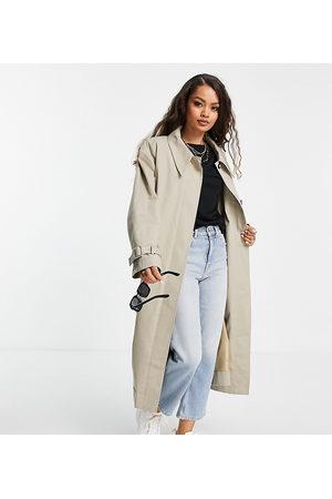 ASOS ASOS DESIGN Petite sharp collar trench coat in stone-Neutral