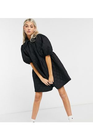 COLLUSION Quilted smock mini dress with collar in