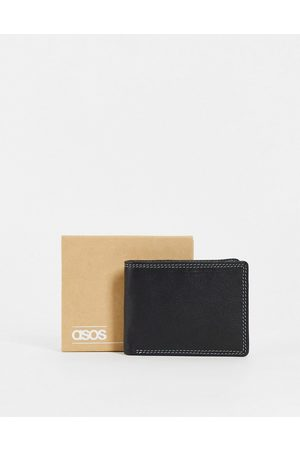 ASOS Men Wallets - Leather wallet in with contrast sage green internals