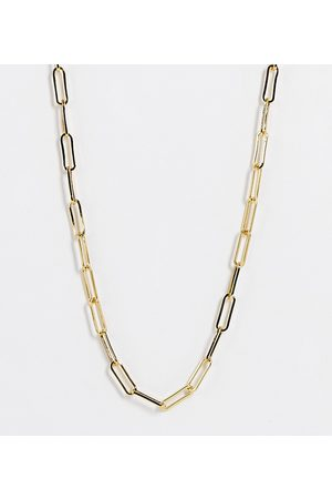ASOS DESIGN 14k plated necklace in open link chain