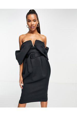ASOS DESIGN Off shoulder draped bandeau midi dress with self buckle belt in