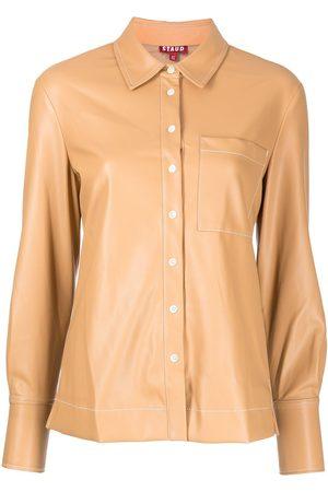 Staud Women Long Sleeve - Faux leather long-sleeve shirt