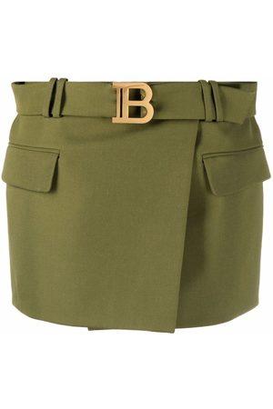 Balmain Logo-buckle belted skirt