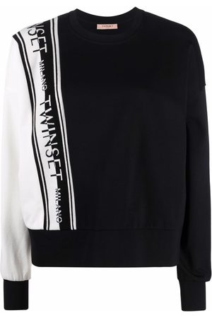 Twin-Set Women Sweatshirts - Logo-print two-tone sweatshirt