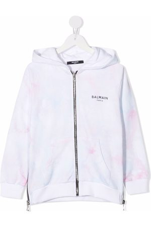 Balmain Logo-print tie-dye hoodie
