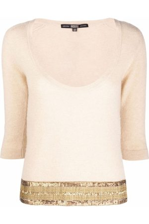 Gianfranco Ferré 1990s sequin-embellished plunging neck knitted top