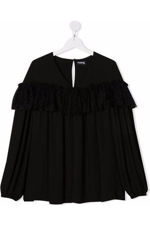 Dondup TEEN tulle-trimmed satin blouse