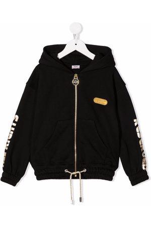 GCDS Graphic-print zip-up hoodie