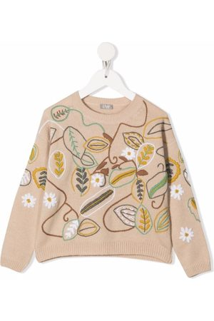 Il gufo Floral-embroidery knitted jumper