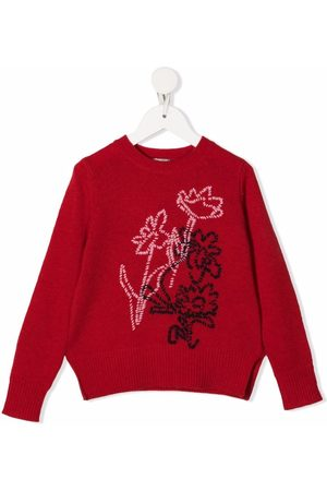 Il gufo Floral-embroidery wool jumper