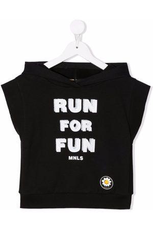 MONNALISA Slogan-print hooded T-shirt
