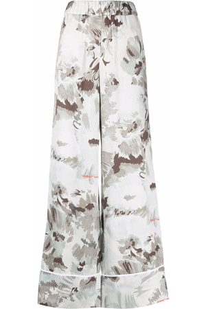 OFF-WHITE Women Wide Leg Pants - FLORAL SATIN PULL ON PANT GREY