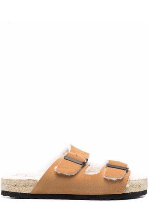 MANEBI Shearling-lined buckle-fastening sandals