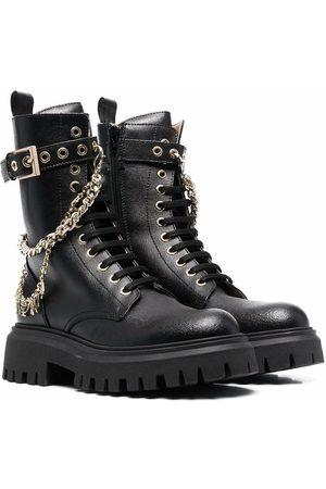 Elisabetta Franchi La Mia Bambina TEEN chain-embellished combat boots