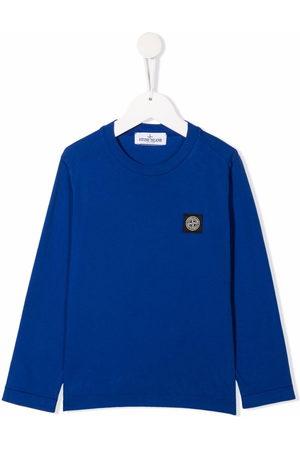Stone Island Boys Long Sleeve - Logo-patch cotton T-shirt