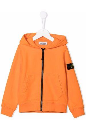 Stone Island Boys Hoodies - Logo-patch zip-up hoodie