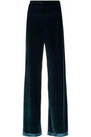 AMEN Velvet-effect high-waisted palazzo trousers