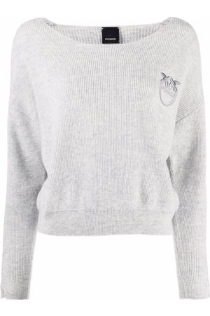 Pinko Embroidered-logo knitted jumper