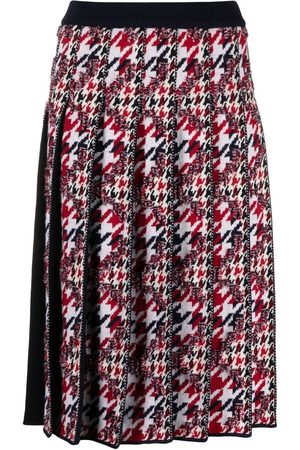 Thom Browne Women Pleated Skirts - Houndstooth-jacquard pleated skirt