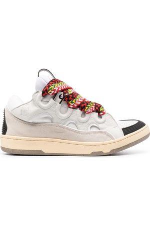 Lanvin Men Sneakers - Curb suede trim sneakers
