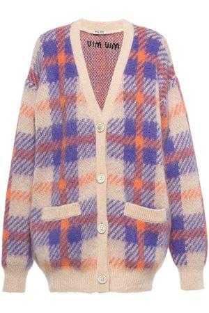Miu Miu Check-pattern cardi-coat