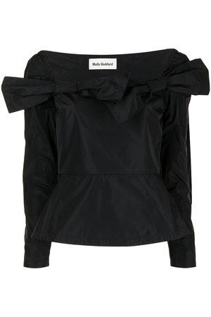 Molly Goddard Taffeta long-sleeve bow top