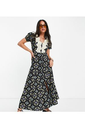 Reclaimed Vintage Women Casual Dresses - Inspired midi tea dress with lace detail-Multi