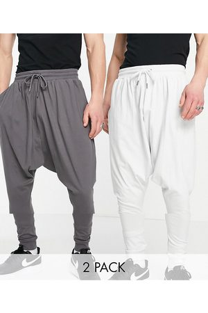 ASOS DESIGN Men Joggers - Lightweight extreme drop crotch joggers 2 pack in charcoal/light grey-Multi