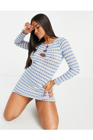 ASOS DESIGN Women Casual Dresses - Long sleeve knit mini dress with cut out detail in blue stripe-Multi