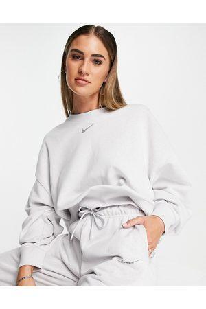 Nike Women Sweatshirts - Lounge essential fleece cropped sweatshirt in marl