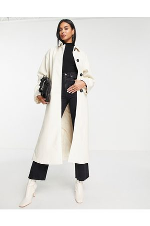 ASOS DESIGN Women Trench Coats - 90s faux leather trench coat in cream