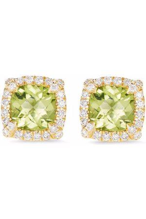 David Yurman 18kt yellow petit Chateleine peridot and diamond stud earrings