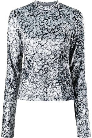 GOEN.J Leopard-print velvet jersey top