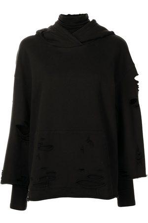 GOEN.J Destroyed layered hoodie
