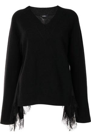 GOEN.J Lace-trimmed v-neck sweater