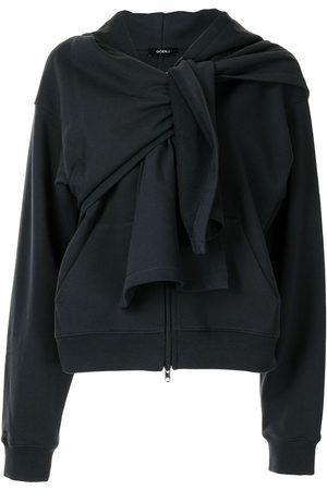 GOEN.J Knot-detail zip-up hoodie