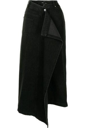 GOEN.J Asymmetric draped denim midi skirt