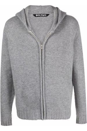Palm Angels Men Sweatshirts - Intarsia-logo zip-up hoodie
